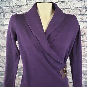 Chaps Purple Shawl Collar Dress - Small